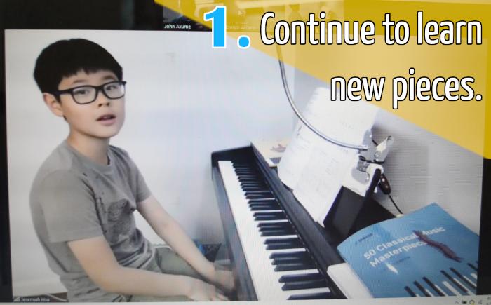 Piano student at the keyboard