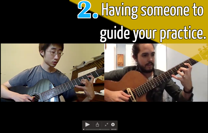 Guitar student has online lesson