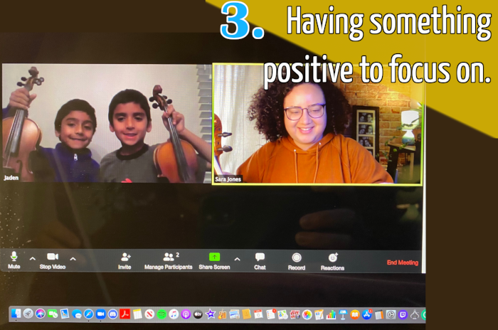 Violin students with their teacher online