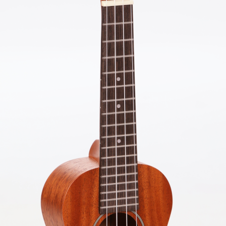 Side view of a ukulele neck and fretboard.