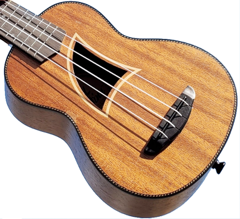 Eddy Finn ES-9 ukulele with fin shaped sound hole.
